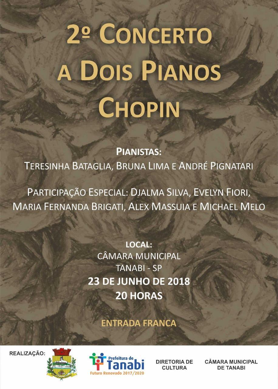 Neste sábado, dia 23, acontece o 2º Concerto a Dois Pianos Chopin