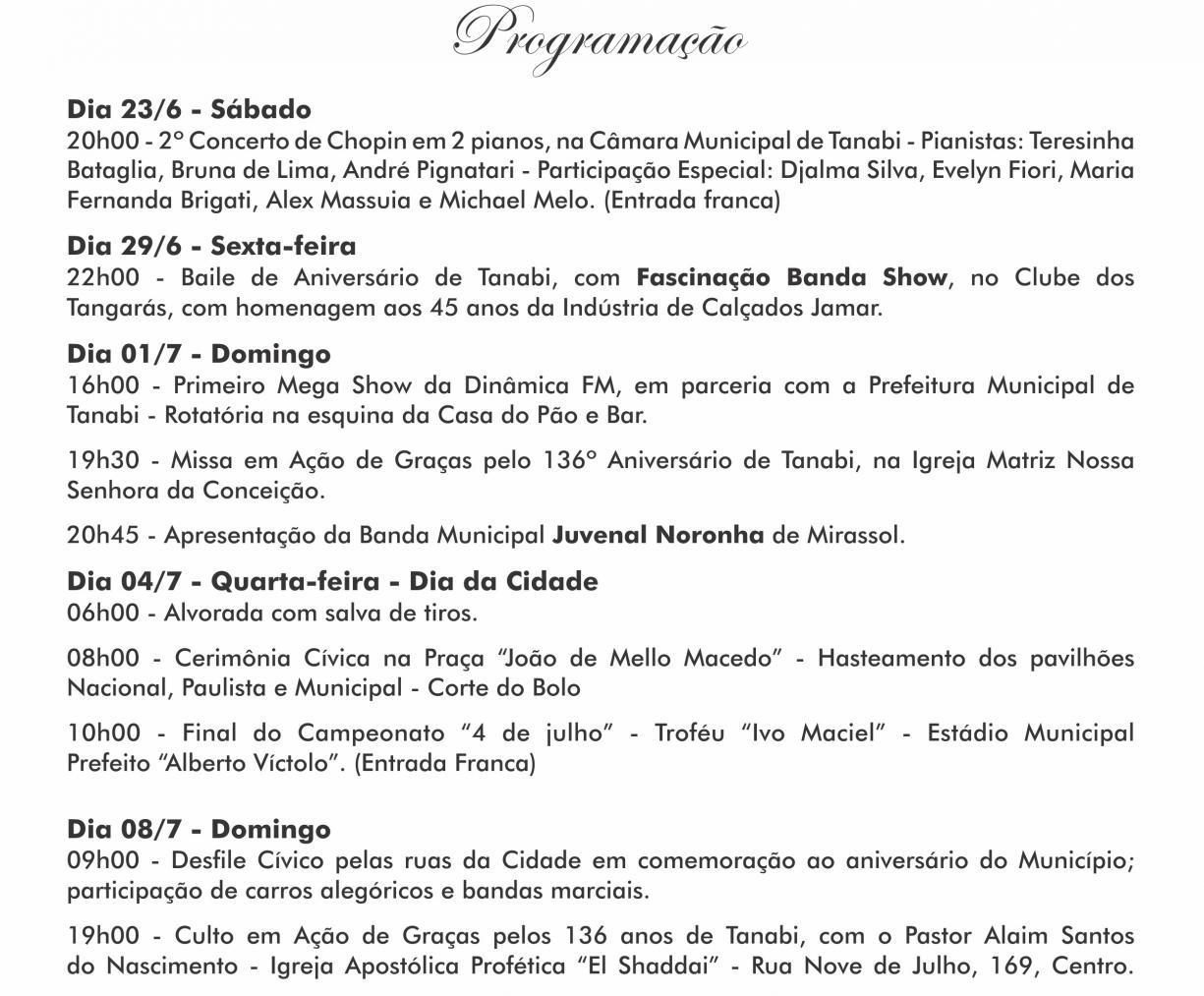 CONVITE ANIVERSÁRIO 136 ANOS DE TANABI