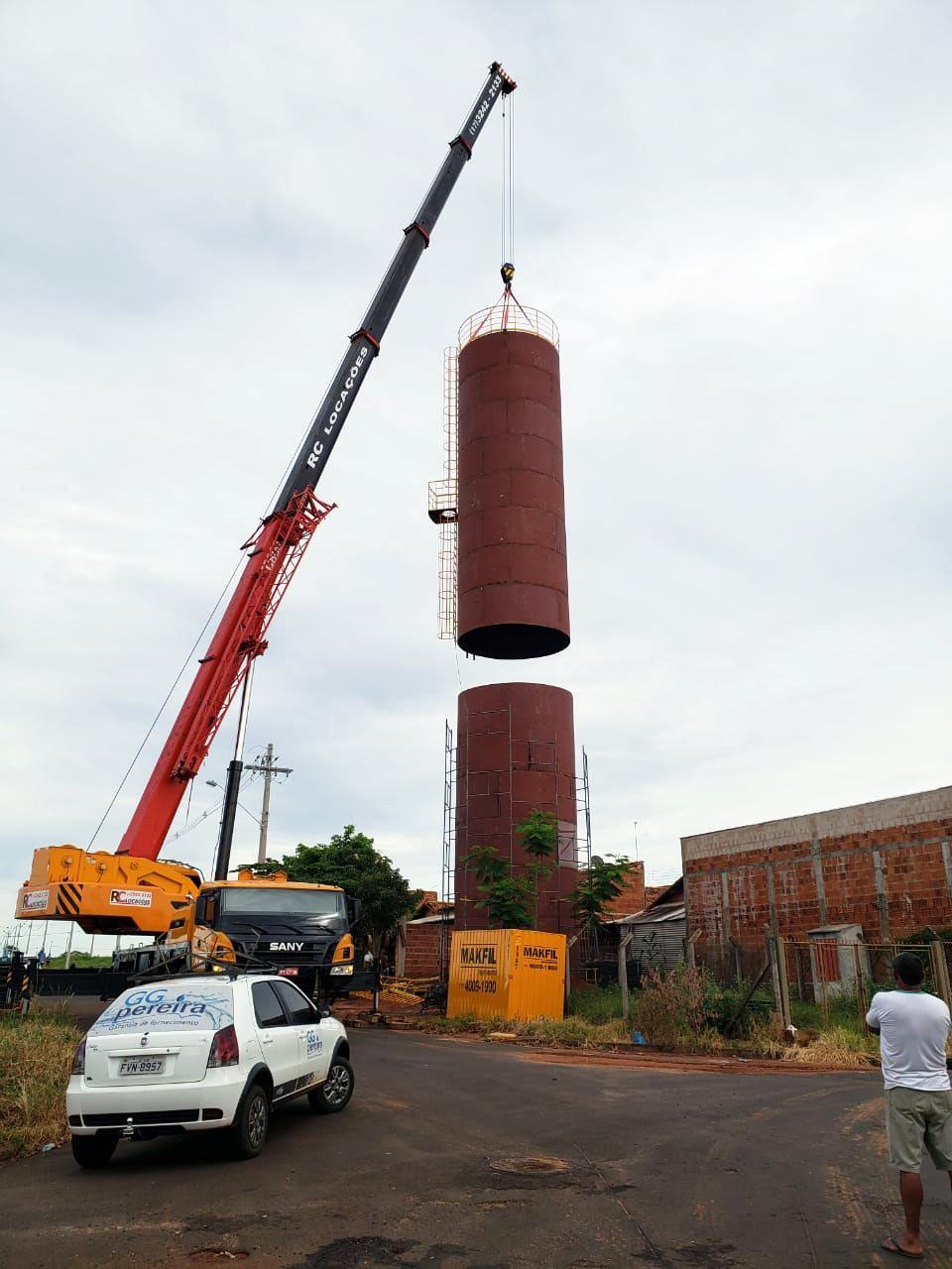 Prefeitura e SAAT concluíram mais uma etapa na montagem do novo reservatório da Zona Norte