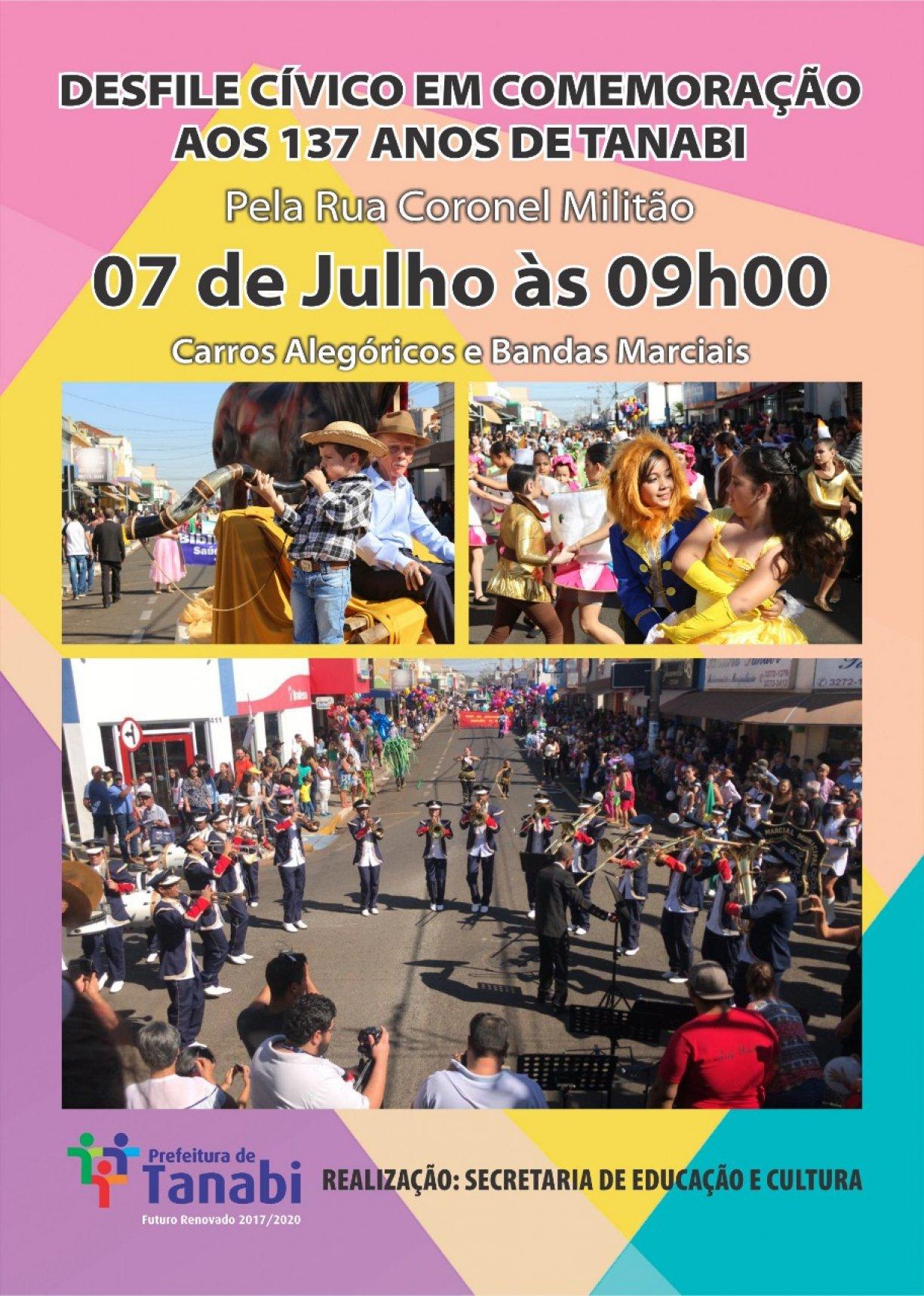 Desfile Cívico em comemoração aos 137 anos de Tanabi acontece dia 07 de julho