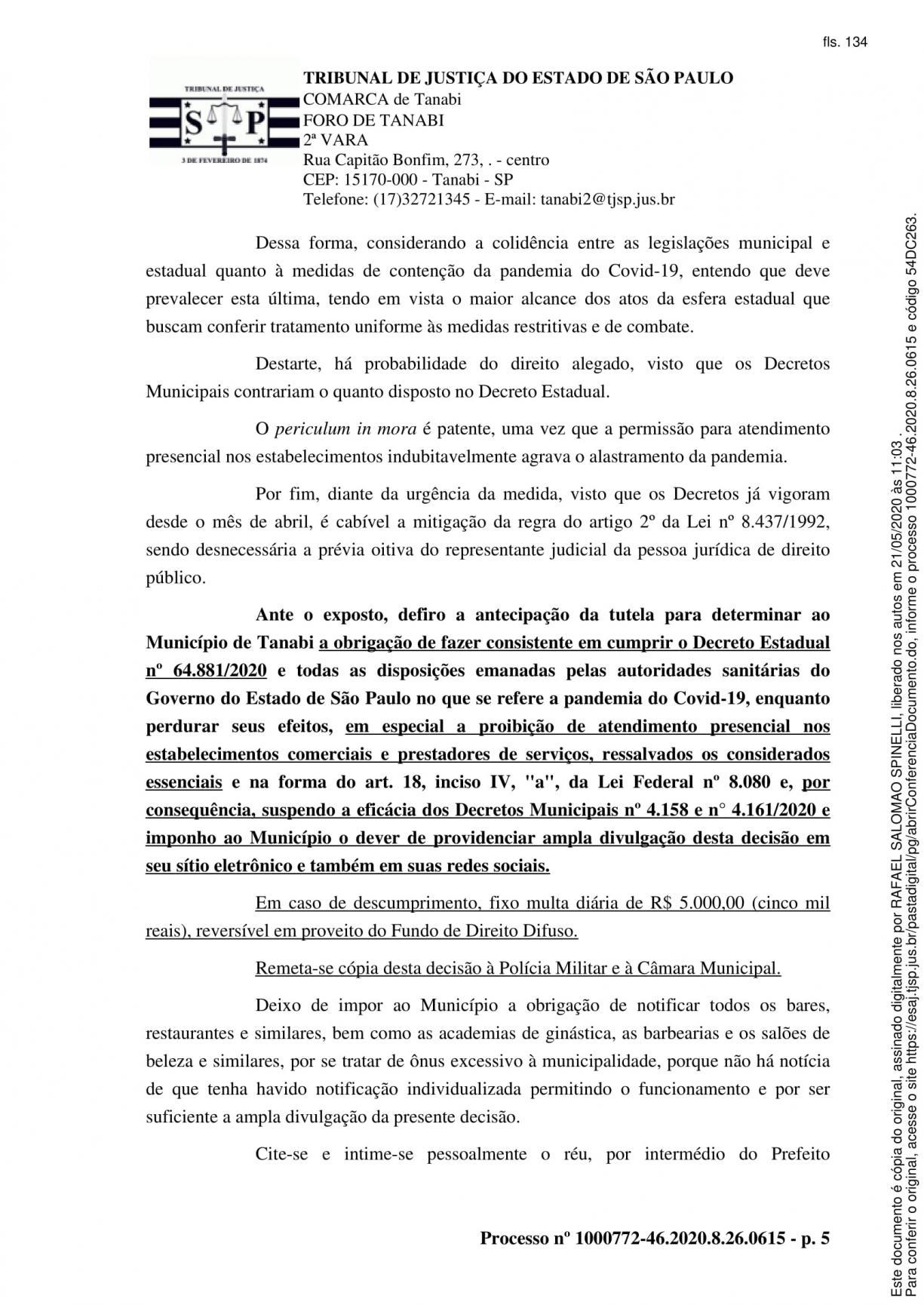 A Prefeitura Municipal de Tanabi cumprindo Decisão da Justiça faz a sua divulgação