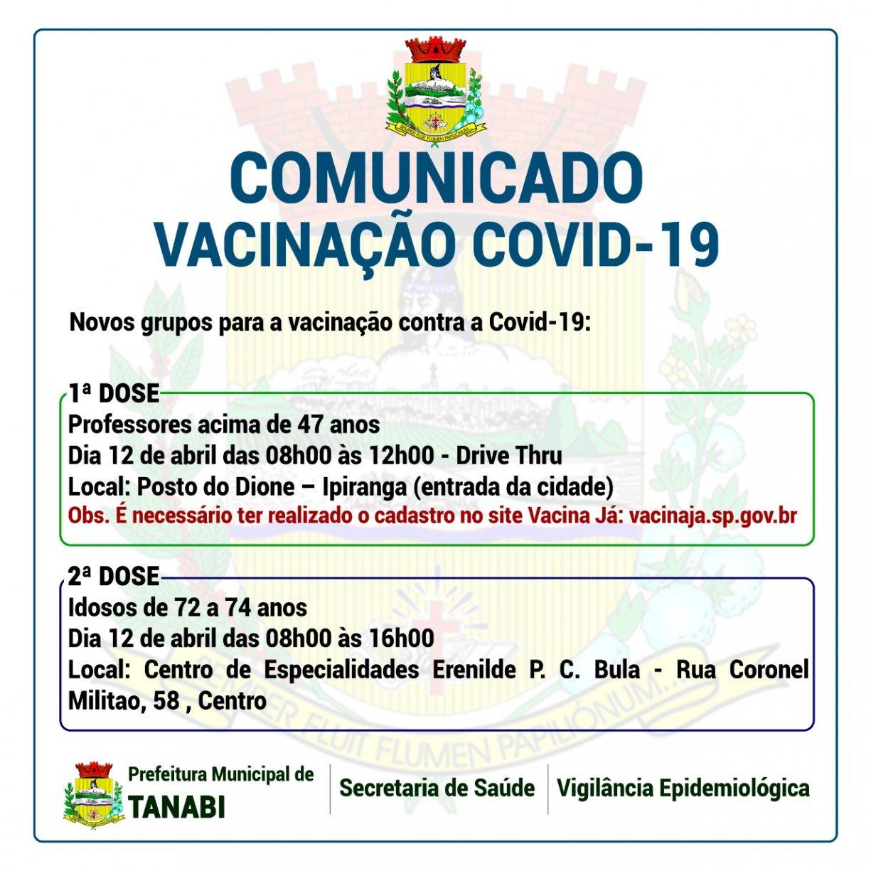 Novas datas para vacinação - COVID-19