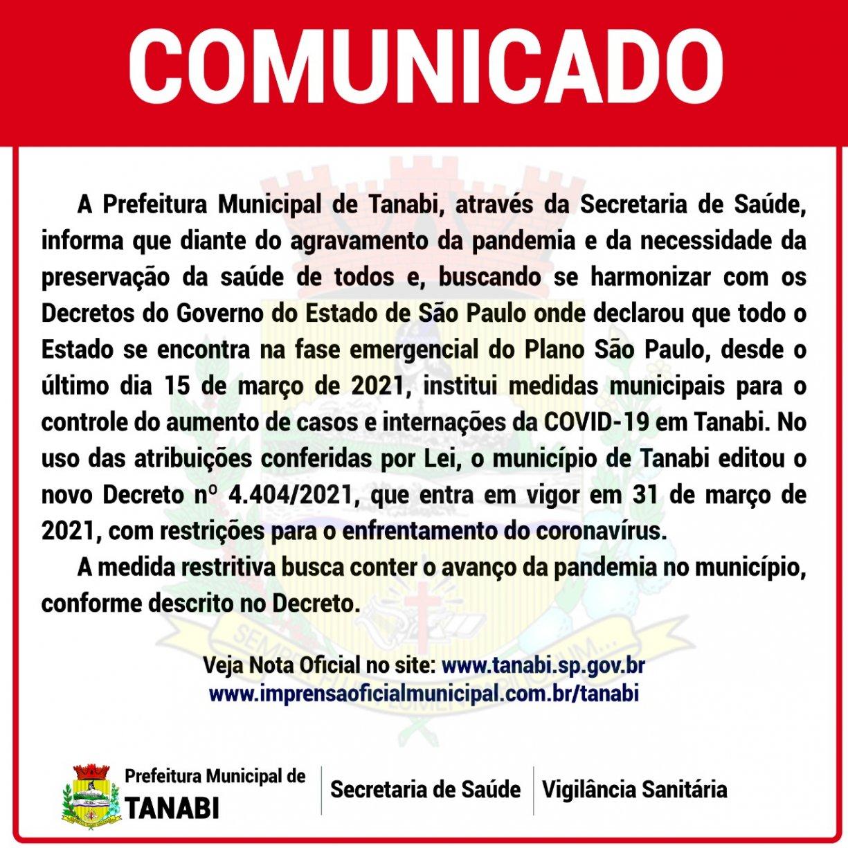 Comunicado Decreto 4.404/2021