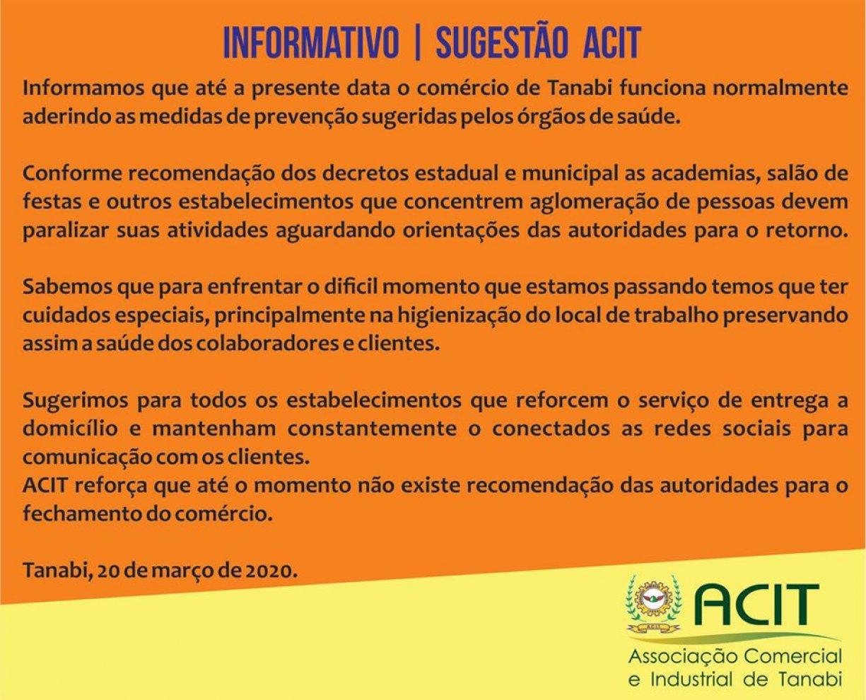 ATENÇÃO PARA ESTE COMUNICADO DA ACIT