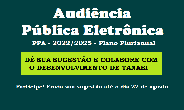 Audiência Pública On-Line (PPA 2022/2025)